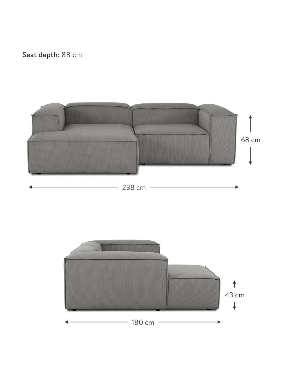 Narożna sofa modułowa ze sztruksu Lennon, Tapicerka: sztruks (92% poliester, 8, Stelaż: lite drewno sosnowe, skle, Nogi: tworzywo sztuczne Nogi zn, Sztruksowy szary, S 238 x G 180 cm