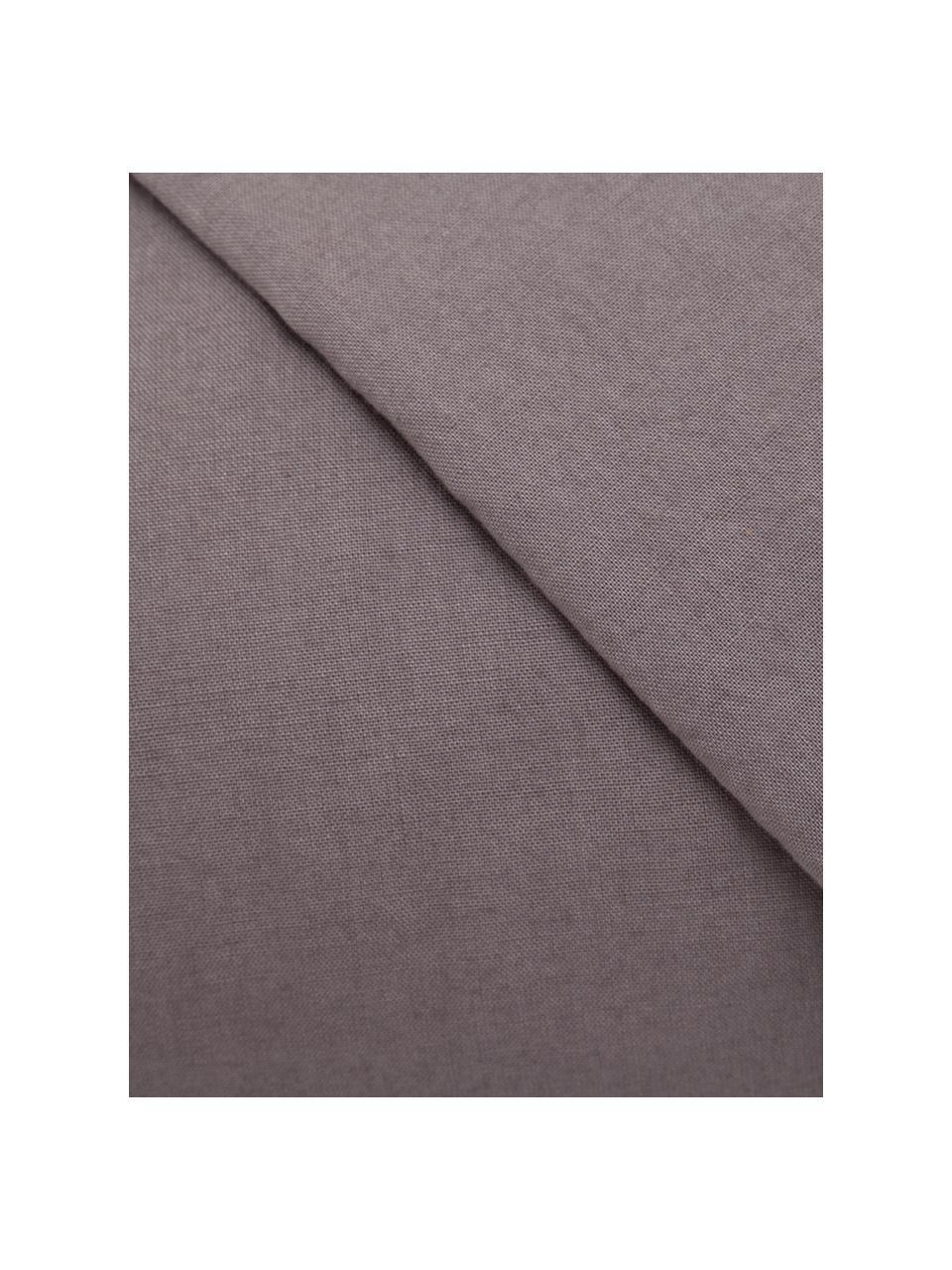 Parure copripiumino in cotone effetto stone washed Velle, Tessuto: cotone ranforce, Fronte e retro: taupe, 155 x 200 cm + 1 federa 50 x 80 cm
