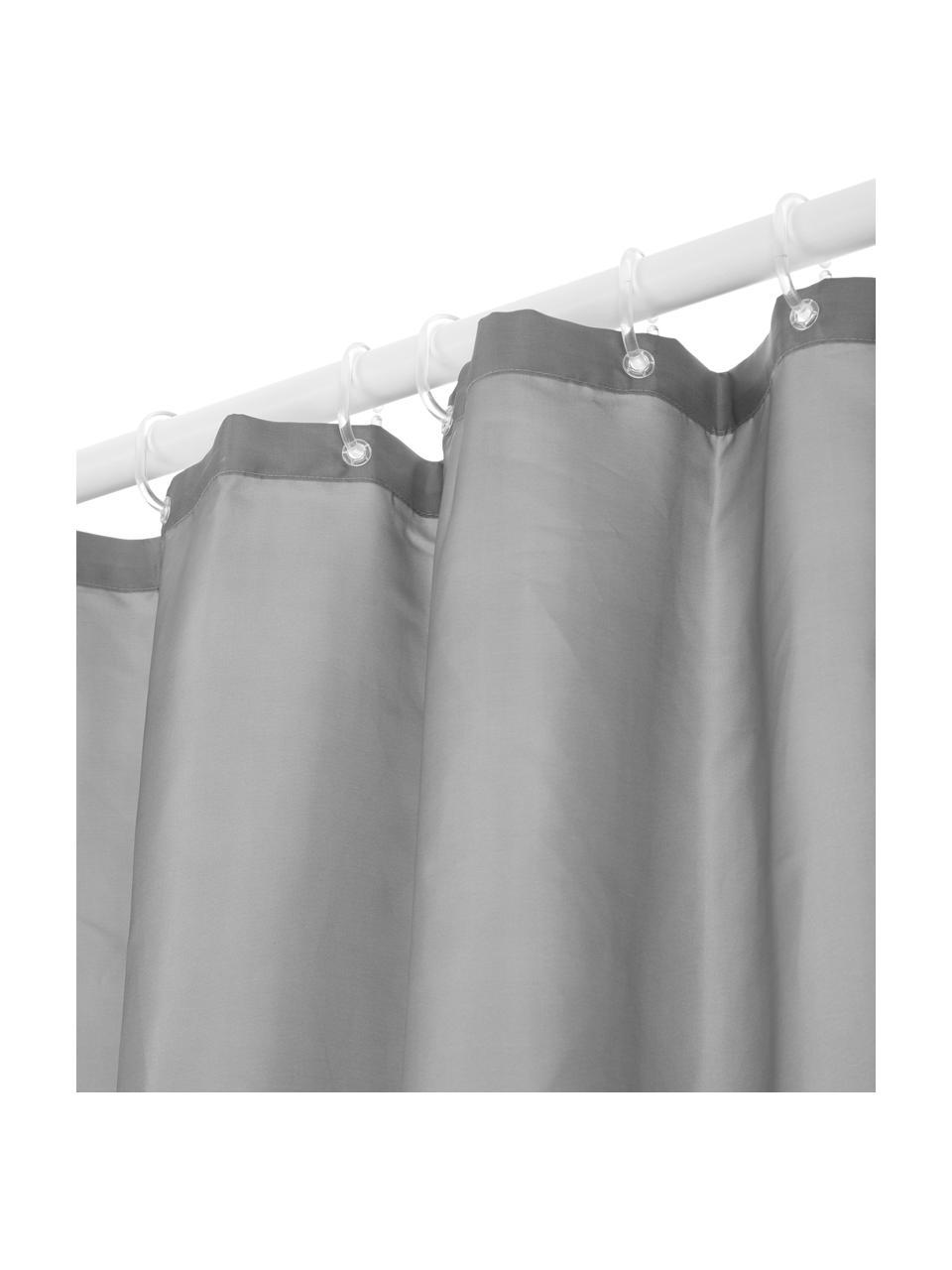 Rideau de douche à imprimé gris Allie, Gris, blanc