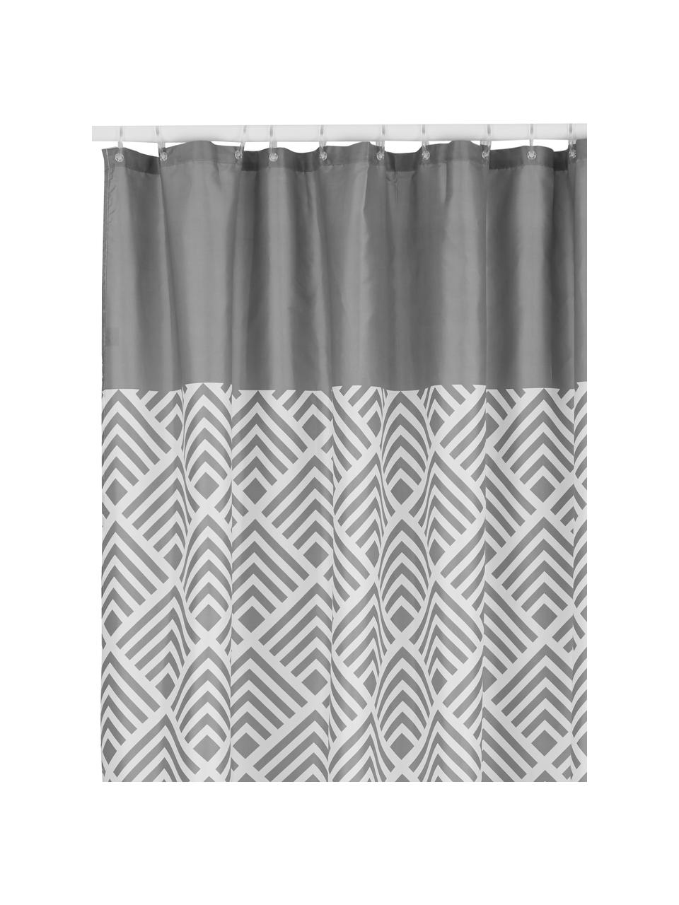 Gemusterter Duschvorhang Allie, Grau, Weiß, 180 x 200 cm