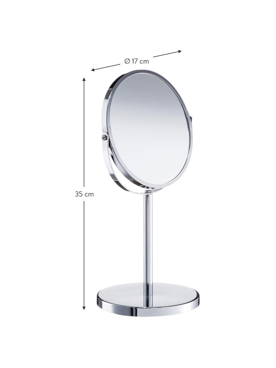 Okrągłe lusterko kosmetyczne z powiększeniem Flip, Odcienie srebrnego, Ø 17 x W 35 cm