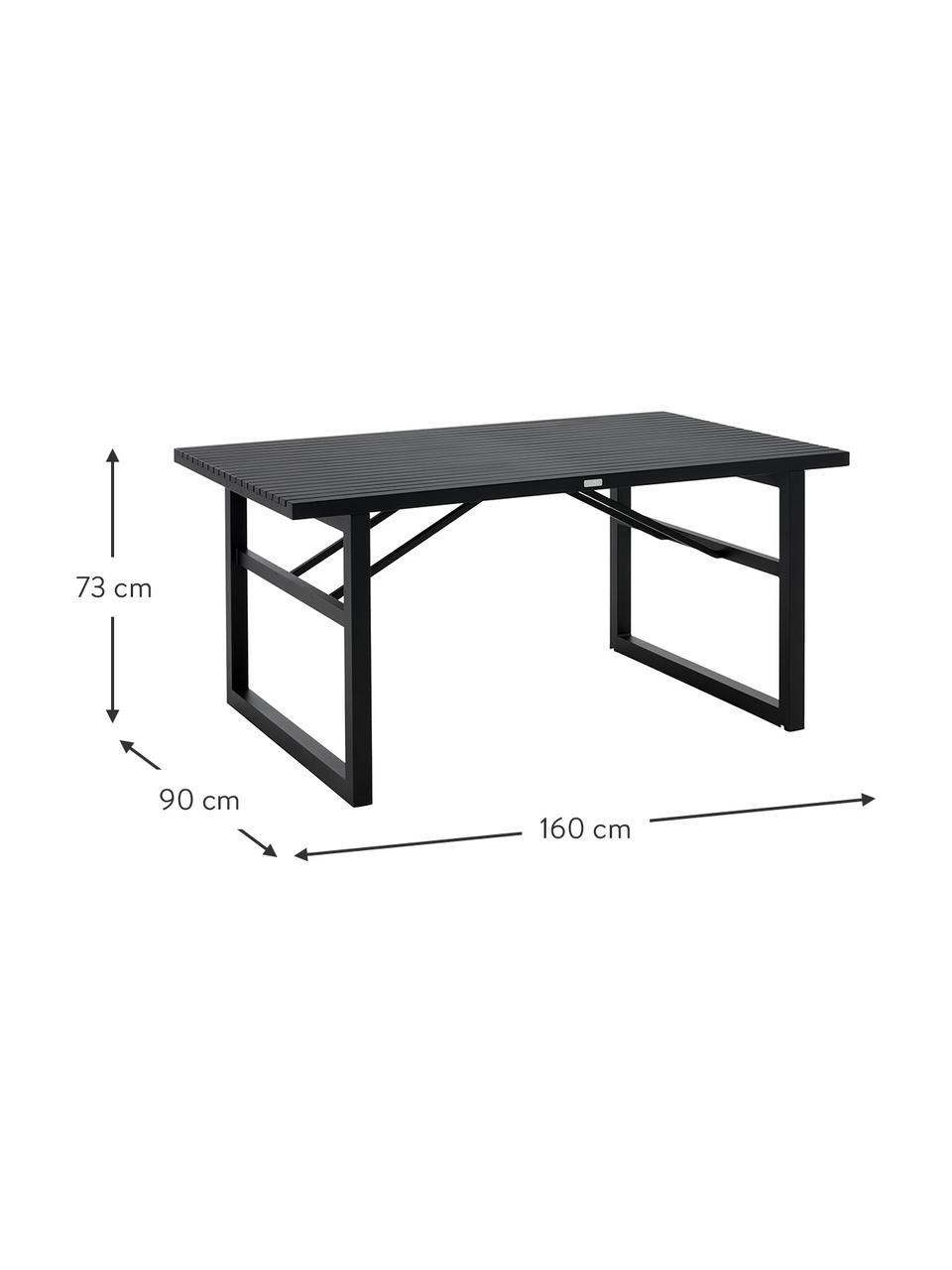 Gartentisch Vevi in Schwarz, Aluminium, pulverbeschichtet, Schwarz, B 160 x T 90 cm