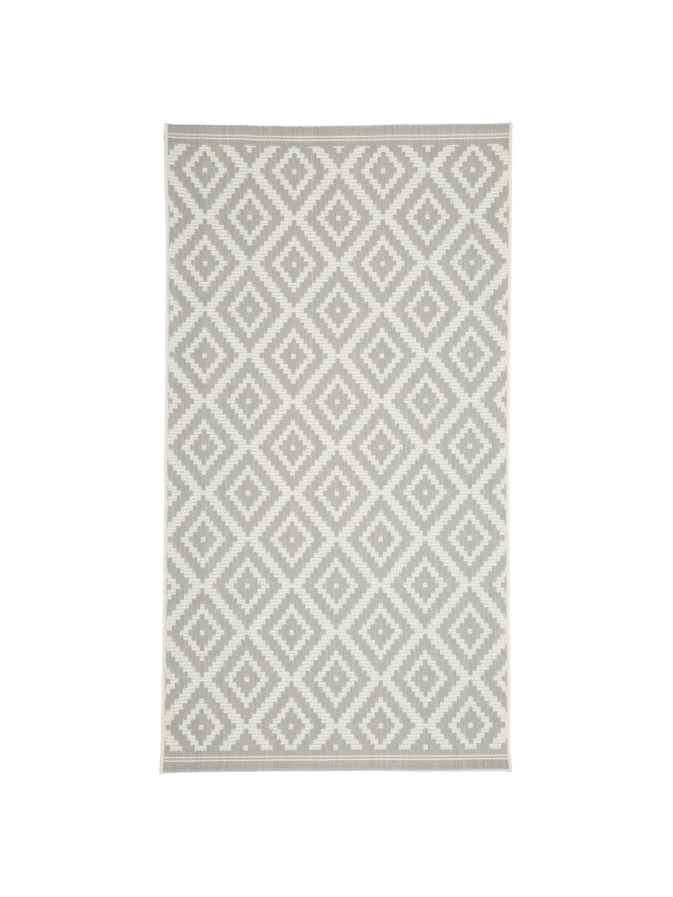 Gemusterter In- & Outdoor-Teppich Miami in Grau/Weiß, 86% Polypropylen, 14% Polyester, Cremeweiß, Grau, B 200 x L 290 cm (Größe L)