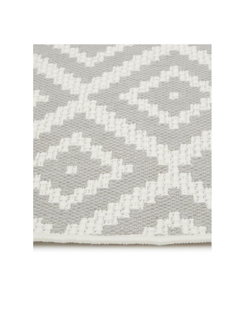 In- & outdoor vloerkleed met patroon Miami in grijs/wit, 86% polypropyleen, 14% polyester, Crèmewit, grijs, B 200 x L 290 cm (maat L)