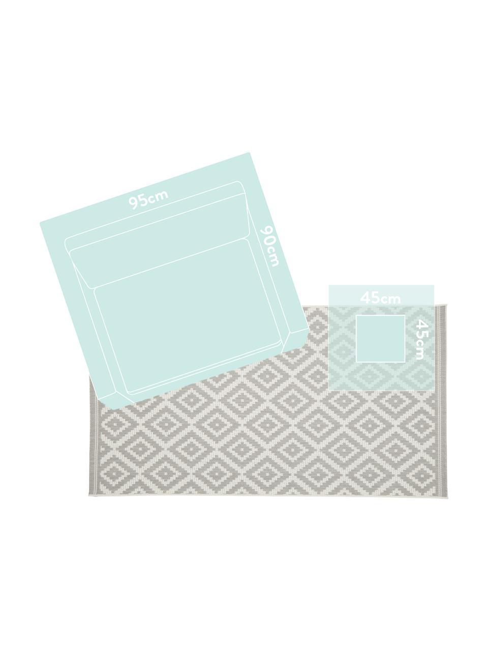 Tappeto a righe color grigio/bianco da interno-esterno Miami, 86% polipropilene, 14% poliestere, Bianco crema, grigio, Larg. 200 x Lung. 290 cm (taglia L)