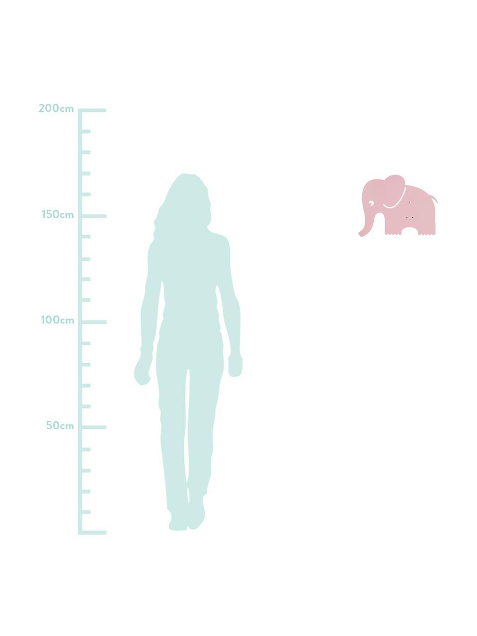 Wandleuchte Elephant mit Stecker, Metall, pulverbeschichtet, Helles Rosa, 33 x 29 cm