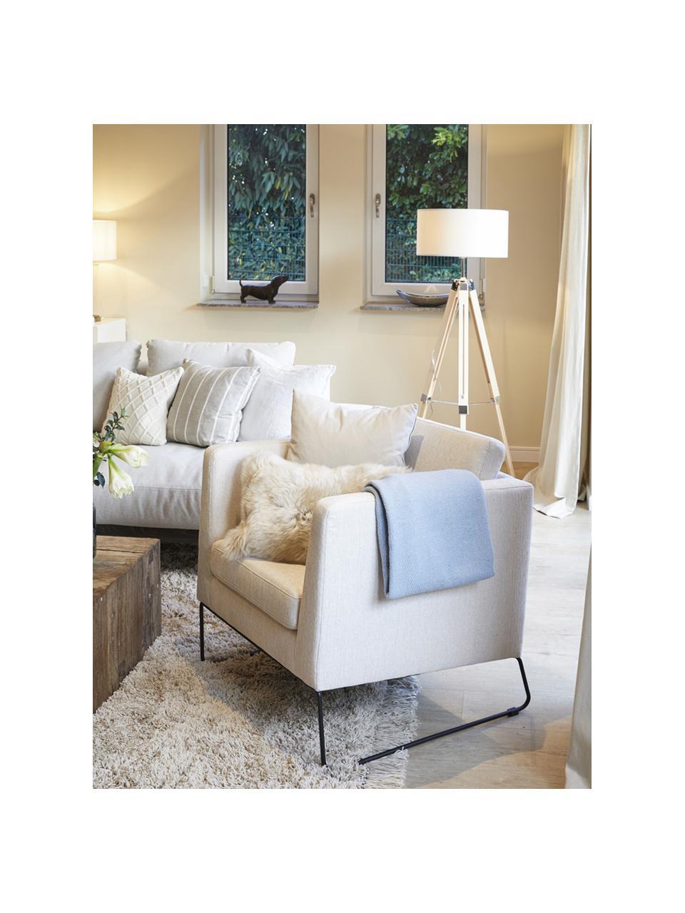 Klassischer Sessel Milo in Beige mit Metall-Füßen, Bezug: Hochwertiger Polyesterbez, Gestell: Kiefernholz, Beine: Metall, lackiert, Webstoff Beige, 77 x 75 cm