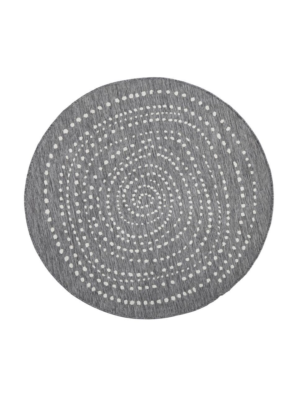 Okrągły dwustronny dywan wewnętrzny/zewnętrzny Bali, Szary, odcienie kremowego, Ø 140 cm (Rozmiar M)