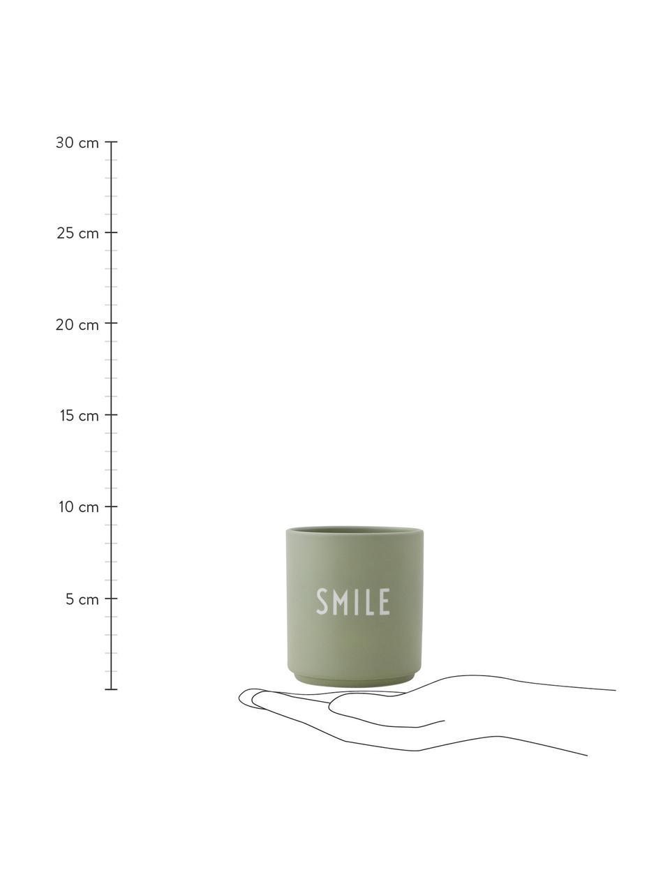 Tazza senza manico verde di design con scritta Favourite SMILE, Fine Bone China (porcellana) Fine bone china è una porcellana a pasta morbida particolarmente caratterizzata dalla sua lucentezza radiosa e traslucida, Verde, bianco, Ø 8 x Alt. 9 cm