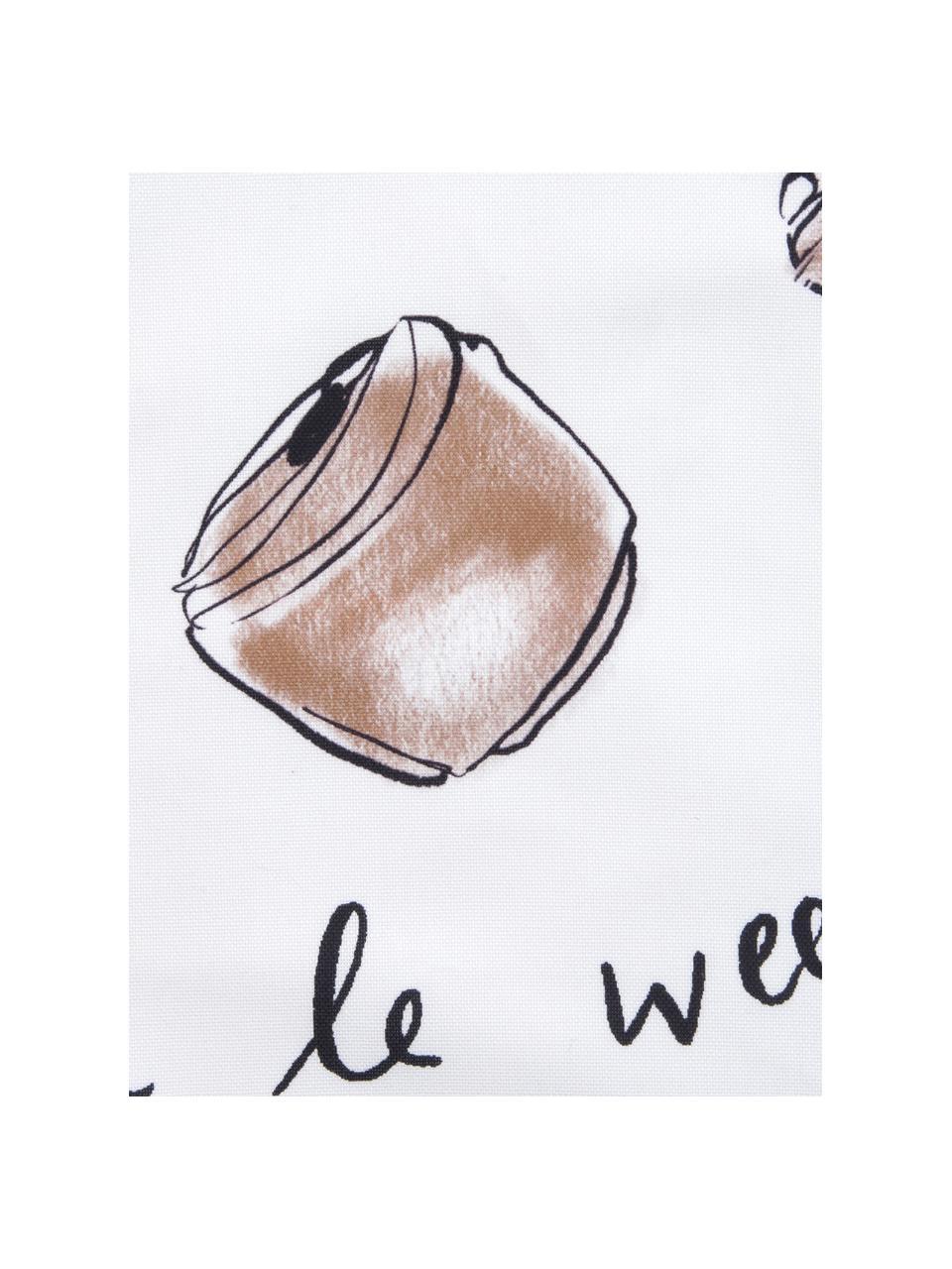 Designer Kissenhülle Croissant von Kera Till, 100% Baumwolle, Weiß, Braun, 40 x 40 cm