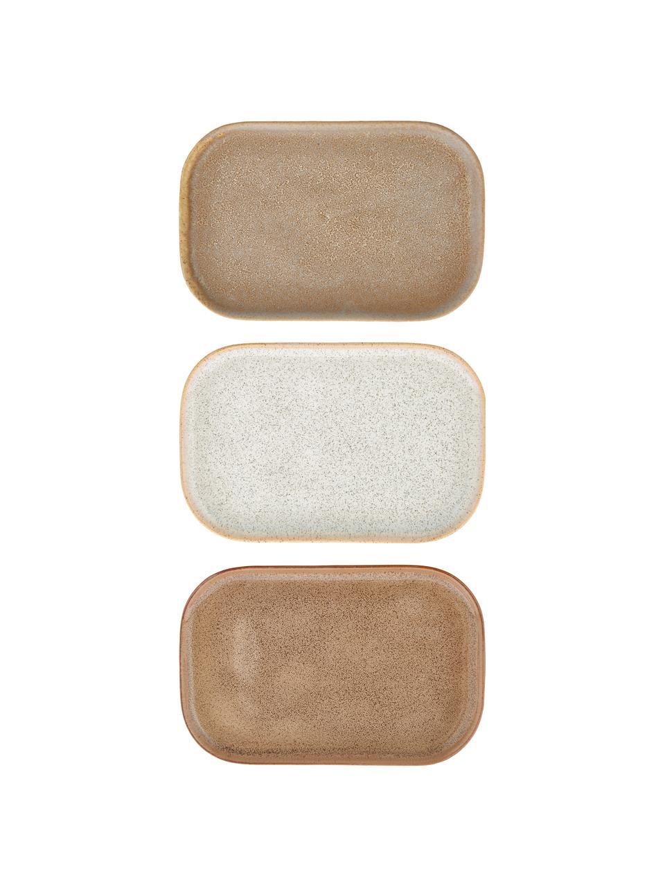 Handgemaakte serveerplateauset Addison, 3-delig, Keramiek, Beige, wit, 15 x 23 cm