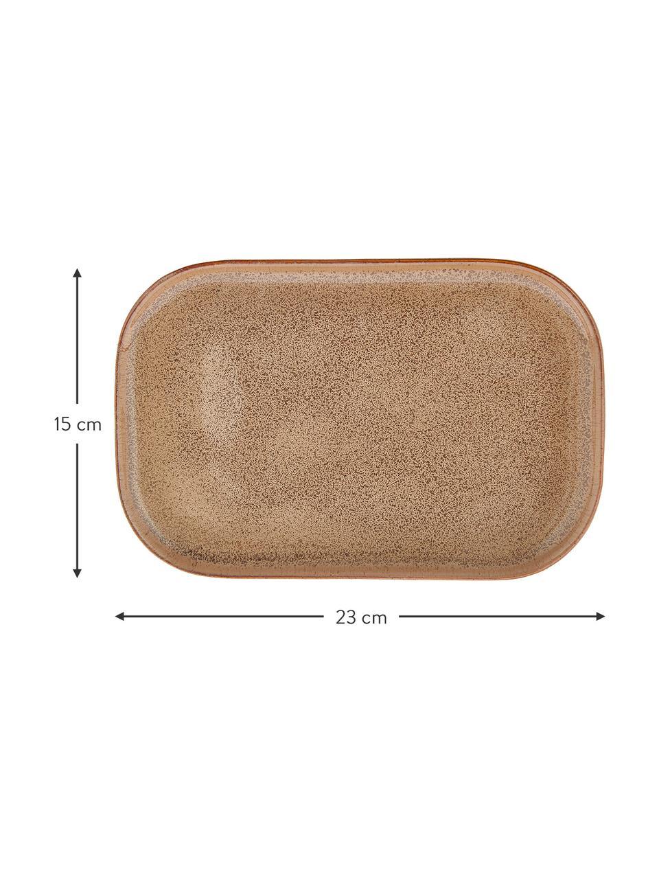 Handgemachte Steingut-Servierplatten Addison L 23 x B 15 cm, 3er-Set, Steingut, Beige, Weiß, 15 x 23 cm
