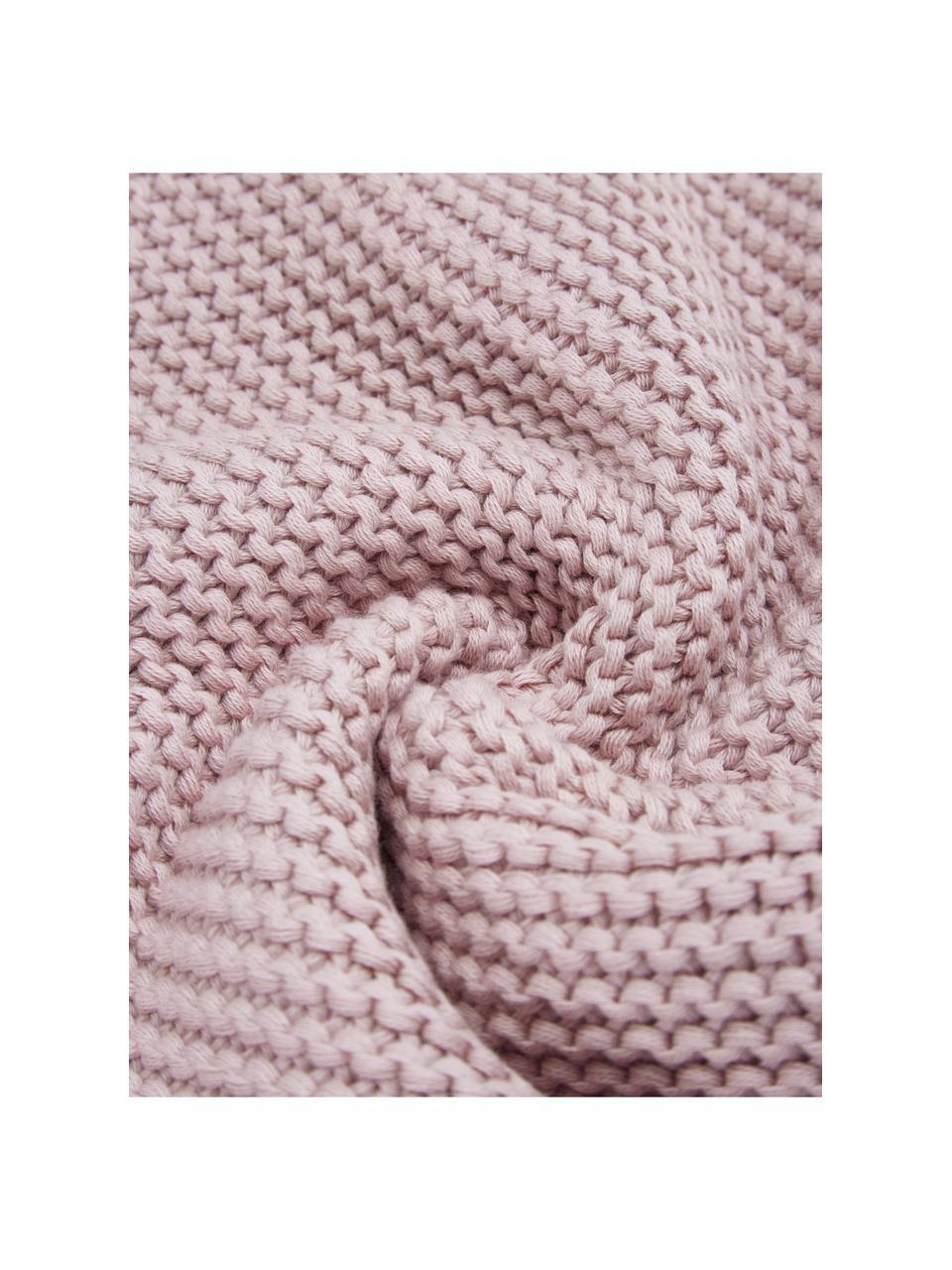 Federa arredo a maglia in cotone biologico rosa cipria Adalyn, 100% cotone biologico, certificato GOTS, Rosa cipria, Larg. 40 x Lung. 40 cm