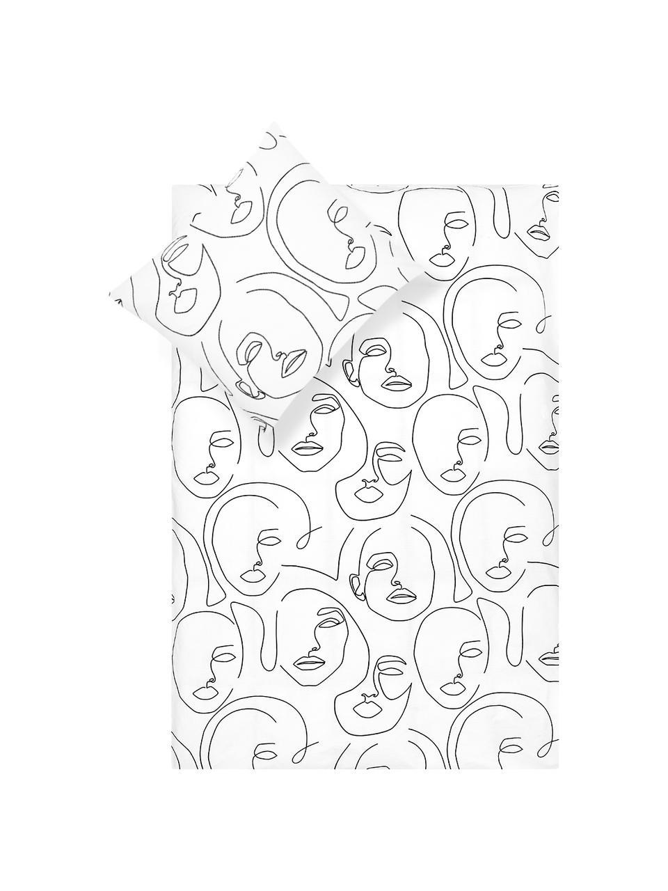 Perkal dekbedovertrek Aria, Weeftechniek: perkal Draaddichtheid 180, Wit, zwart, 240 x 220 cm