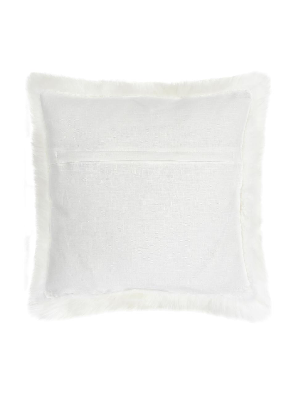 Federa arredo in pelliccia di pecora color crema Oslo, Retro: lino, Bianco crema, Larg. 40 x Lung. 40 cm