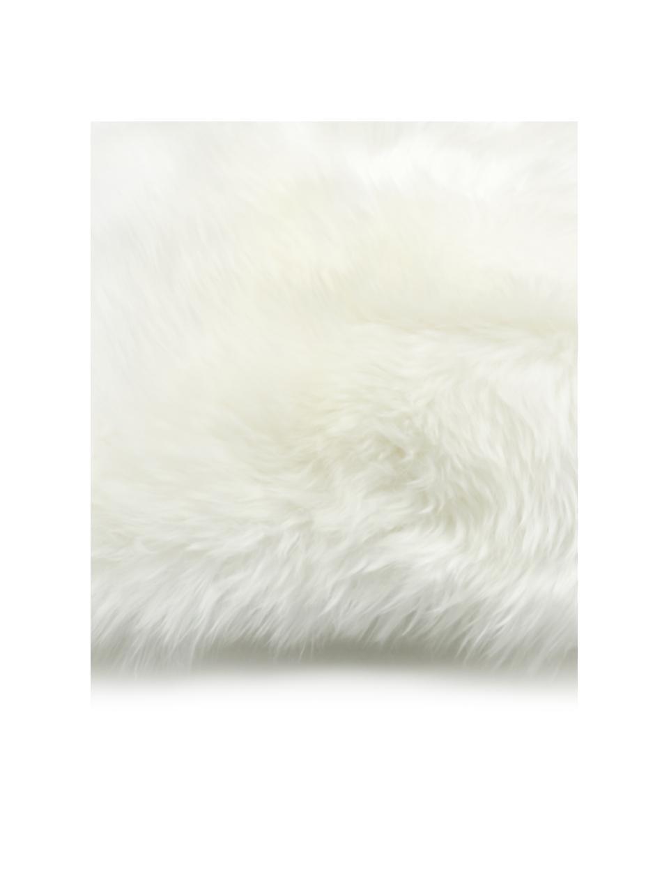 Schaffell-Kissenhülle Oslo in Creme, glatt, Vorderseite: 100% Schaffell, Rückseite: Leinen, Cremeweiß, 40 x 40 cm