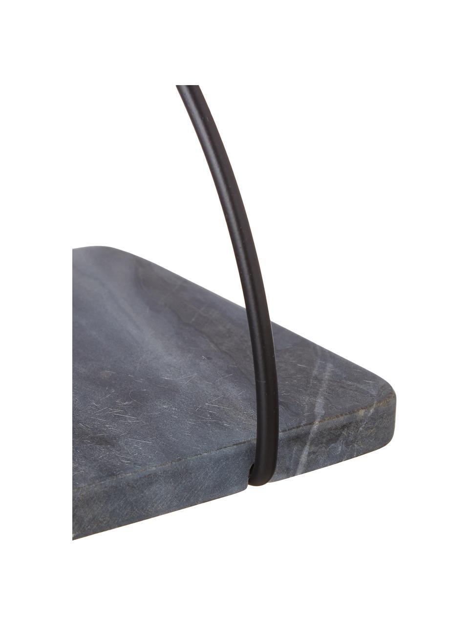 Mensola a muro in marmo Porter, Mensola: marmo, Montatura: nero Mensola: grigio marmorizzato, Larg. 40 x Alt. 18 cm