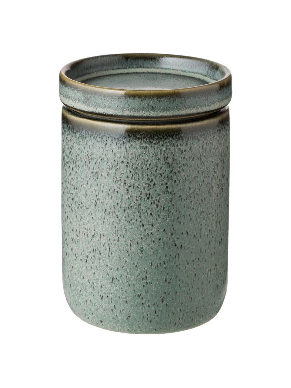 Opbergpot Mila, Geglazuurd keramiek, Grijsgroen, Ø 10 x H 11 cm