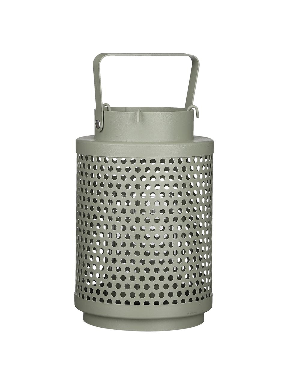 Lanterna Barney, Metallo rivestito, Verde salvia, Ø 12 x Alt. 19 cm