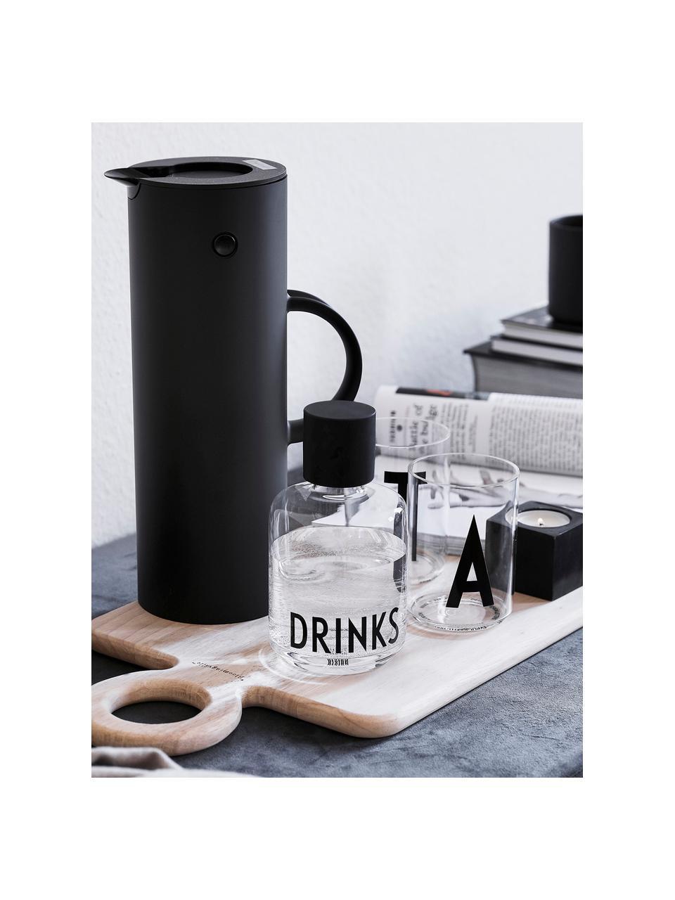 Bicchiere acqua di design in vetro con lettera Personal (varianti dalla A alla Z), Vetro borosilicato, Trasparente, nero, Bicchiere per l'acqua M