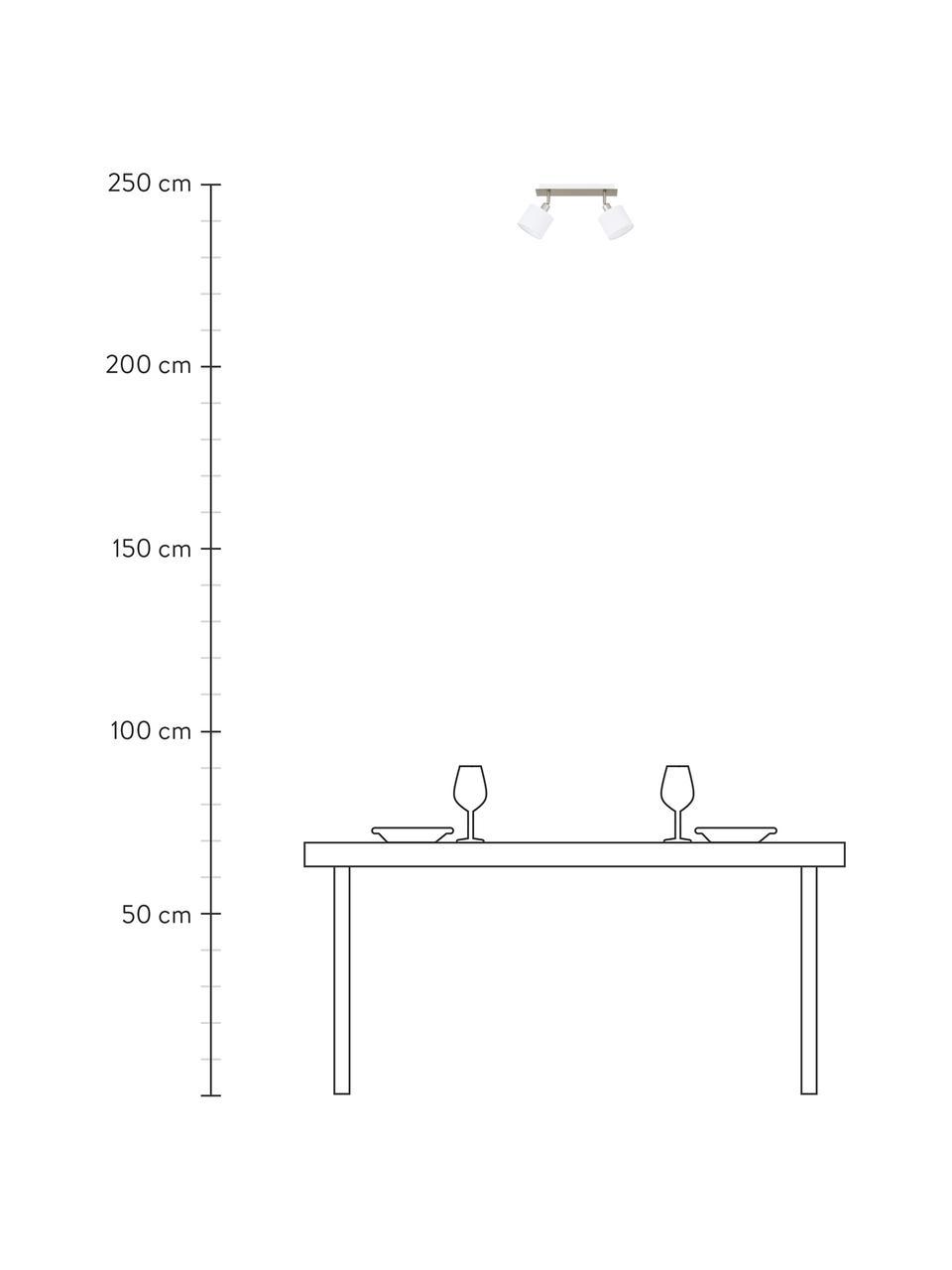 Faretti da soffitto Casper, Baldacchino: metallo nichelato, Paralume: tessuto, Argento, bianco, Larg. 32 x Alt. 7 cm