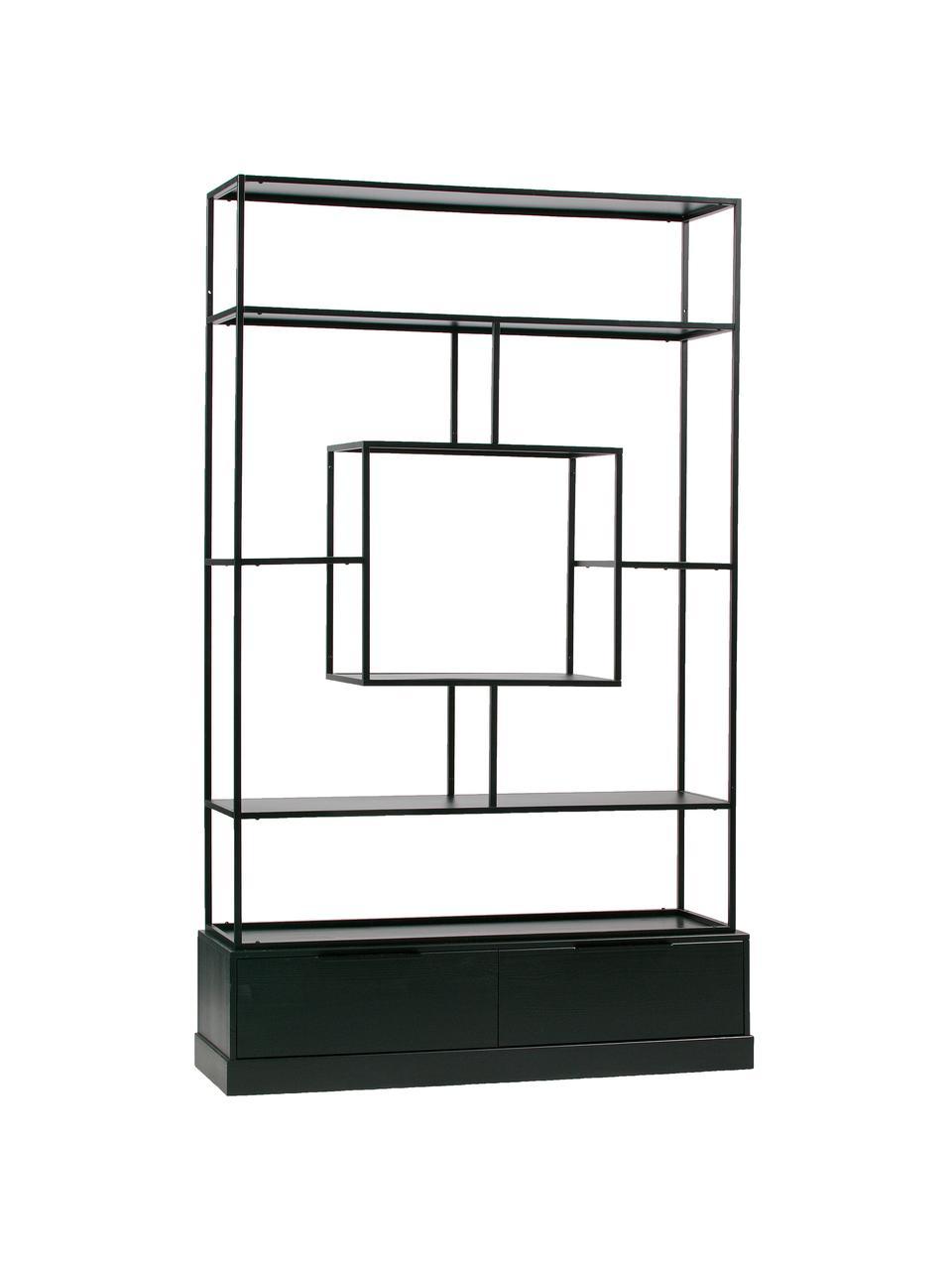 Libreria in metallo con contenitore Fons, Cornice: metallo verniciato, Nero, Larg. 126 x Alt. 204 cm