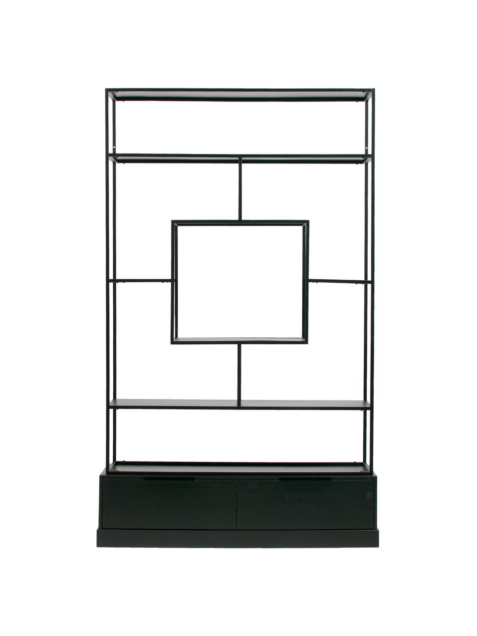 Regał z metalu z miejscem do przechowywania Fons, Czarny, S 126 x W 204 cm