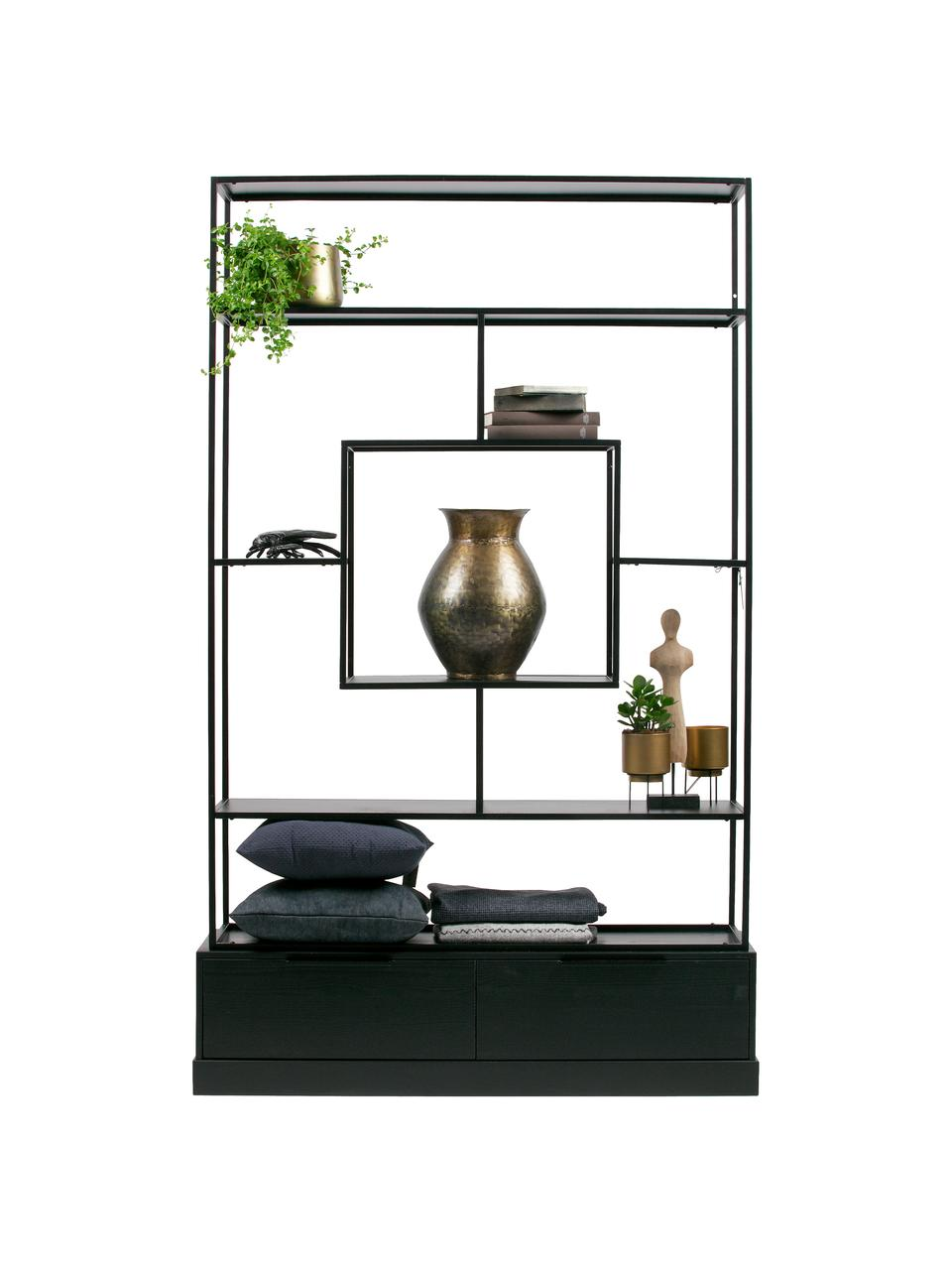 Metall-Standregal Fons mit Stauraum, Rahmen: Metall, lackiert, Schwarz, 126 x 204 cm