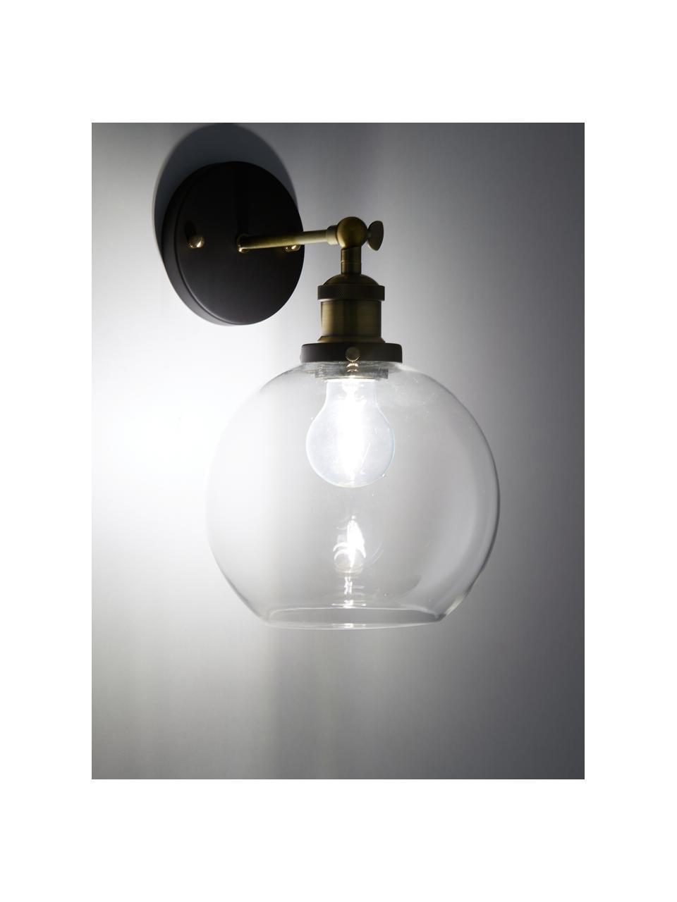 Große Wandleuchte New York Loft No.2, Lampenschirm: Glas, Gestell: Messing, Schwarz, Messing, Transparent, 20 x 35 cm