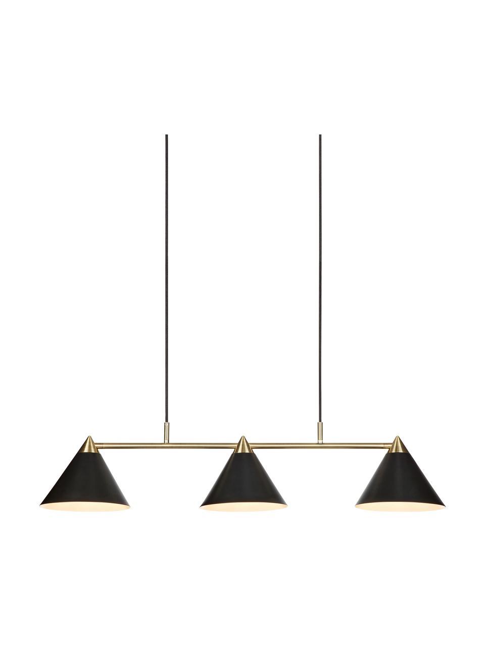 Lampada a sospensione Klint, Baldacchino: metallo rivestito, Nero, dorato, Larg. 99 x Alt. 21 cm