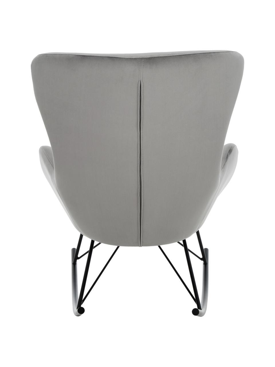 Fluwelen schommelstoel Wing in grijs, Bekleding: fluweel (polyester), Poten: gepoedercoat metaal, Fluweel grijs, B 66 x D 102 cm
