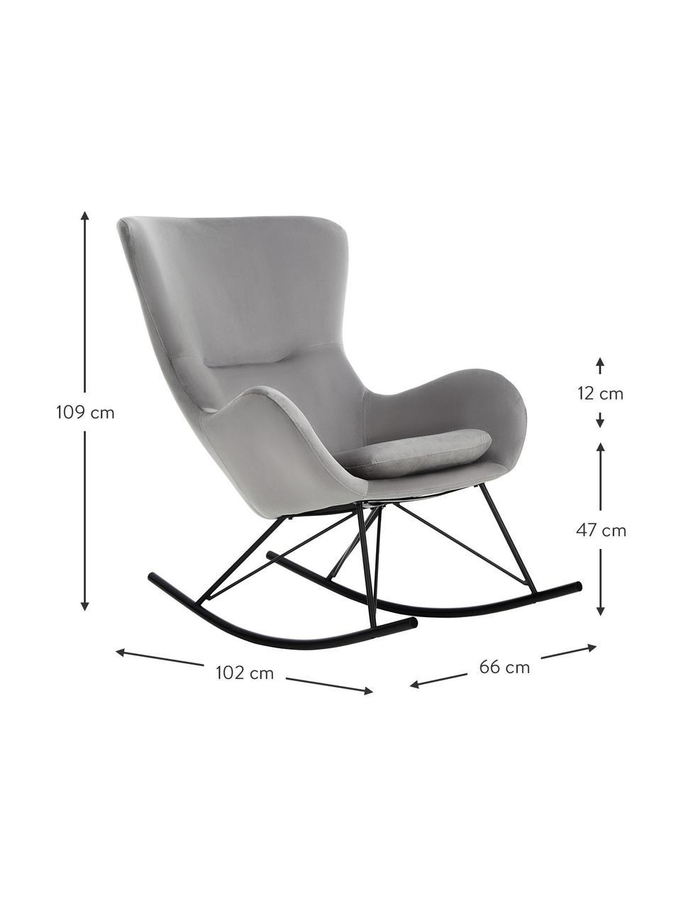 Fotel bujany uszak z aksamitu Wing, Tapicerka: aksamit (poliester) Dzięk, Aksamitny szary, czarny, S 66 x G 102 cm