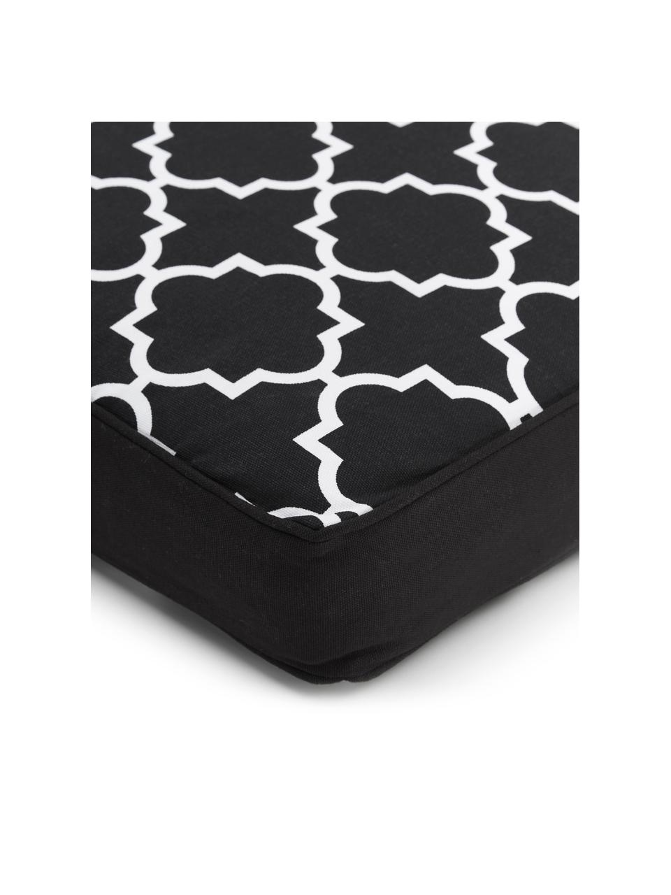 Hohes Sitzkissen Lana in Schwarz/Weiß, Bezug: 100% Baumwolle, Schwarz, 40 x 40 cm