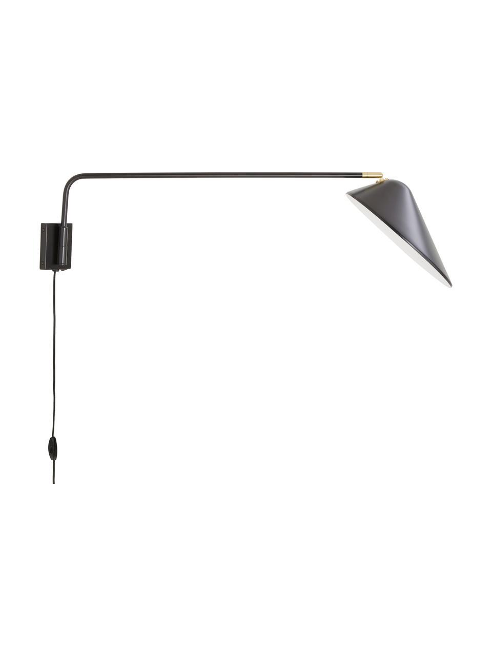 Grote wandlamp Neron met stekker en goudkleurige decoratie in zwart, Lampenkap: gepoedercoat metaal, Decoratie: vermessingd metaal, Zwart, B 27 x D 100 cm