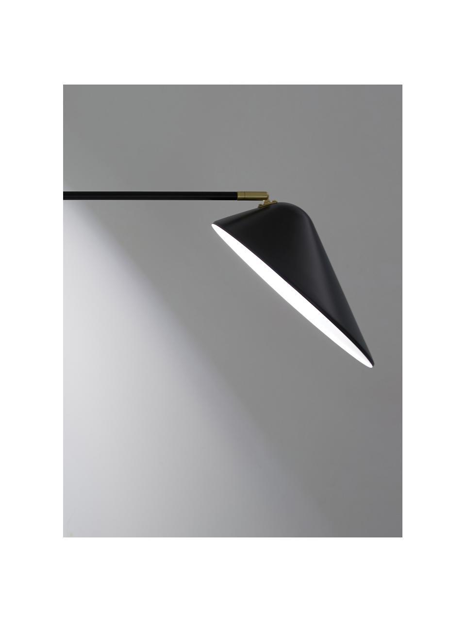 Große Wandleuchte Neron mit Stecker und Gold-Dekor in Schwarz, Lampenschirm: Metall, pulverbeschichtet, Dekor: Metall, vermessingt, Schwarz, 27 x 15 cm