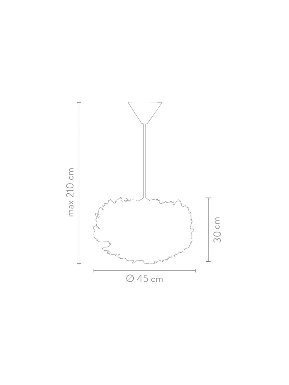 Pendelleuchte Eos aus Federn, Lampenschirm: Gänsefedern, Stahl, Baldachin: Kunststoff, Weiß, Ø 45 x H 30 cm