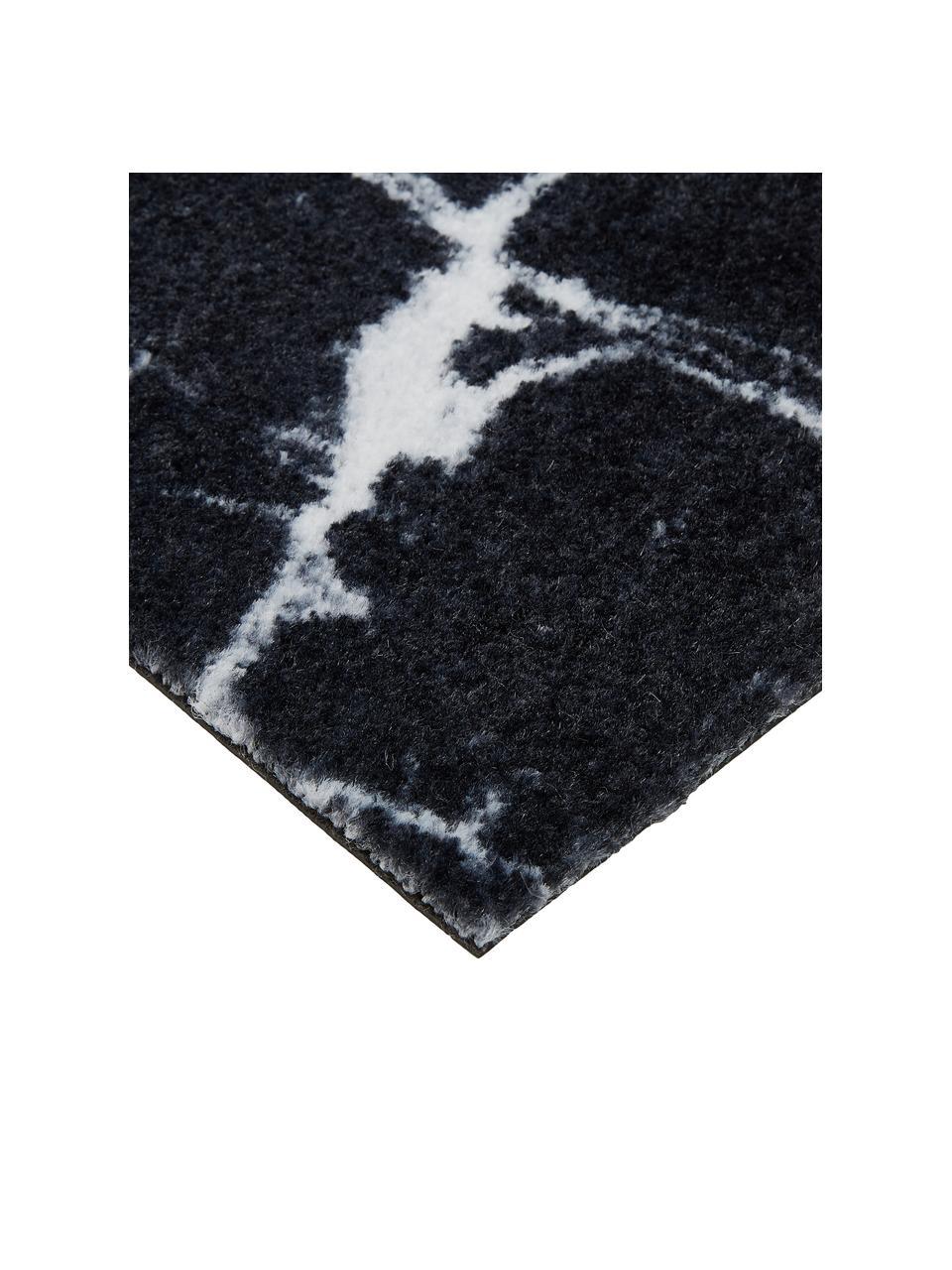 Waschbare Polyamid-Fußmatte Bailey, Vorderseite: Polyamid, Rückseite: Kunststoff, Schwarz, 50 x 75 cm