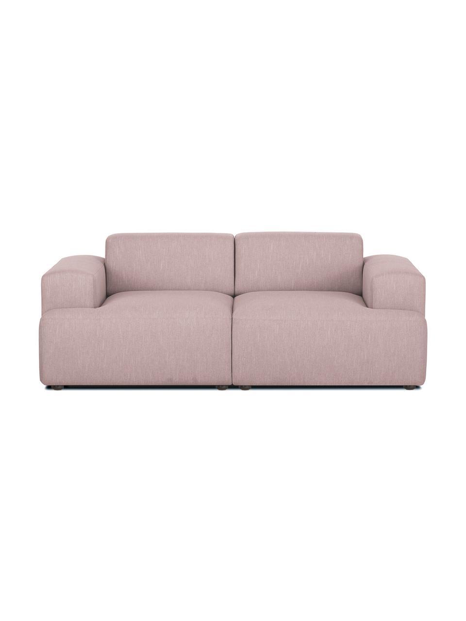 Bank Melva (2-zits) in roze, Bekleding: 100% polyester, Frame: massief grenenhout, FSC-g, Poten: kunststof, Geweven stof roze, 198 x 101 cm