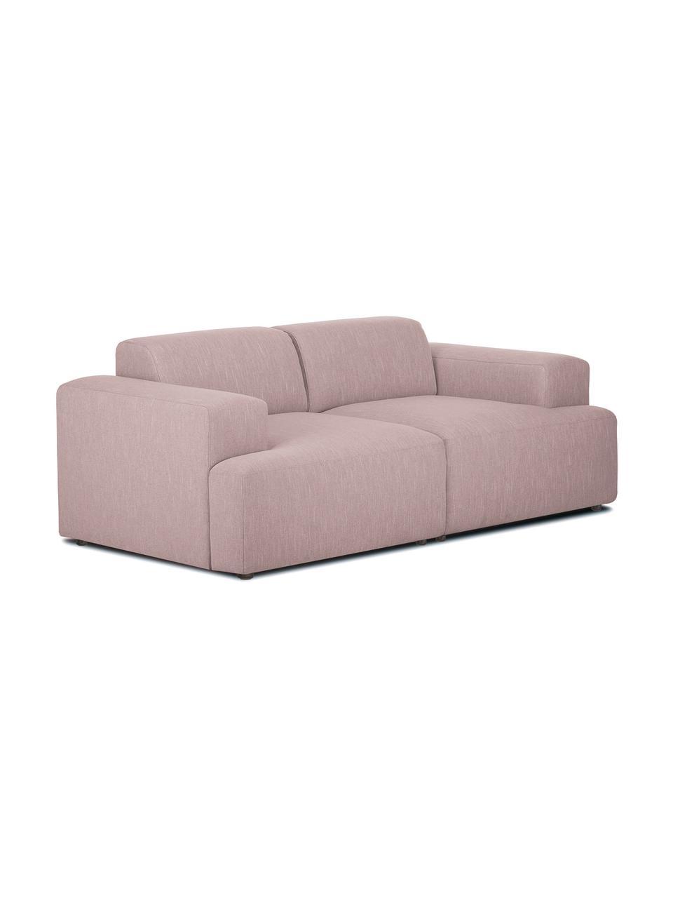 Sofa Melva (2-Sitzer) in Rosa, Bezug: 100% Polyester Der hochwe, Gestell: Massives Kiefernholz, FSC, Füße: Kunststoff, Webstoff Rosa, B 198 x T 101 cm