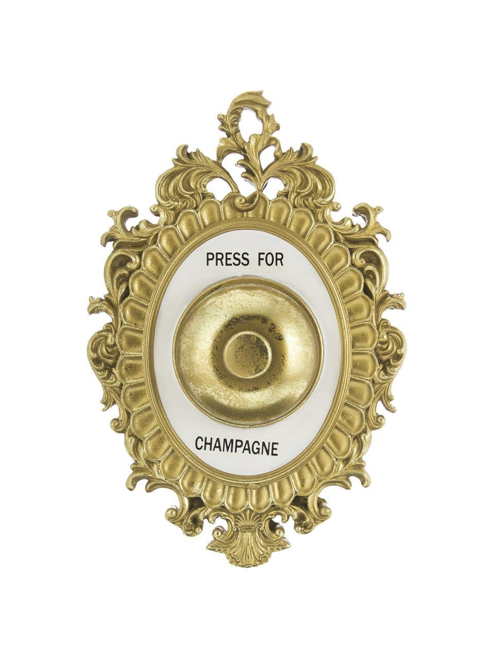 Dekoracja ścienna z poliresingu Bell, Odcienie złotego, biały, czarny, S 14 x W 23 cm