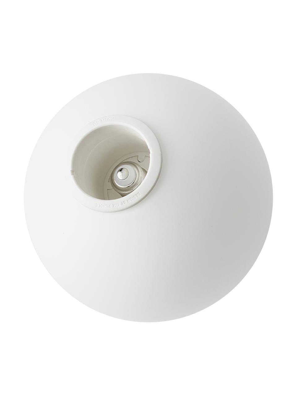 Kleine LED-Pendelleuchte TR Bulb aus Opalglas, Lampenschirm: Opalglas, Dekor: Stahl, pulverbeschichtet, Baldachin: Kunststoff, Weiß, Schwarz, Ø 20 x H 32 cm