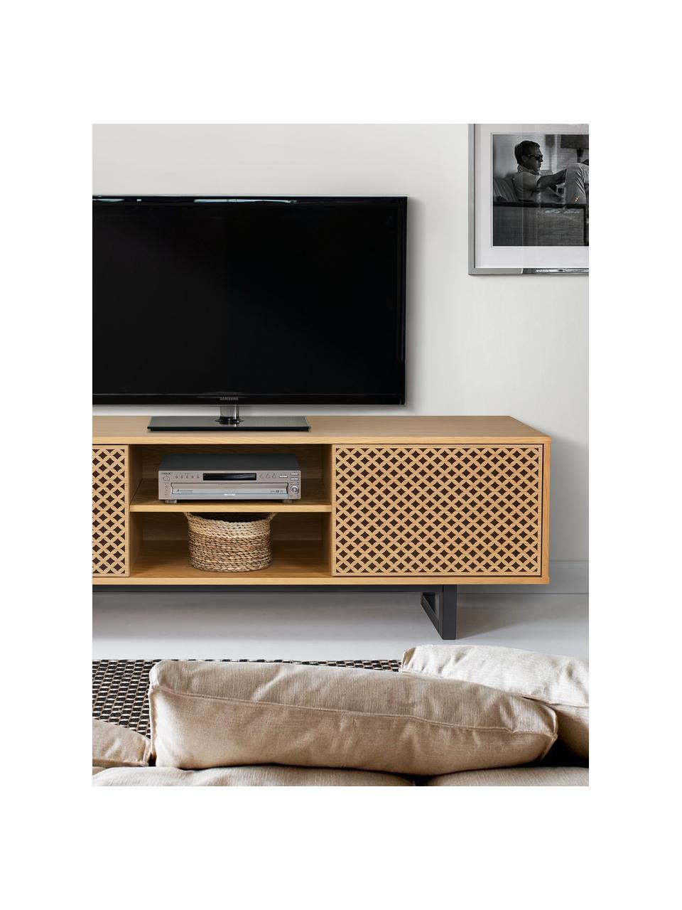 Mobile TV con ante e finitura di quercia Camden, Piedini: legno di betulla vernicia, Legno di quercia, nero, Larg. 150 x Alt. 50 cm