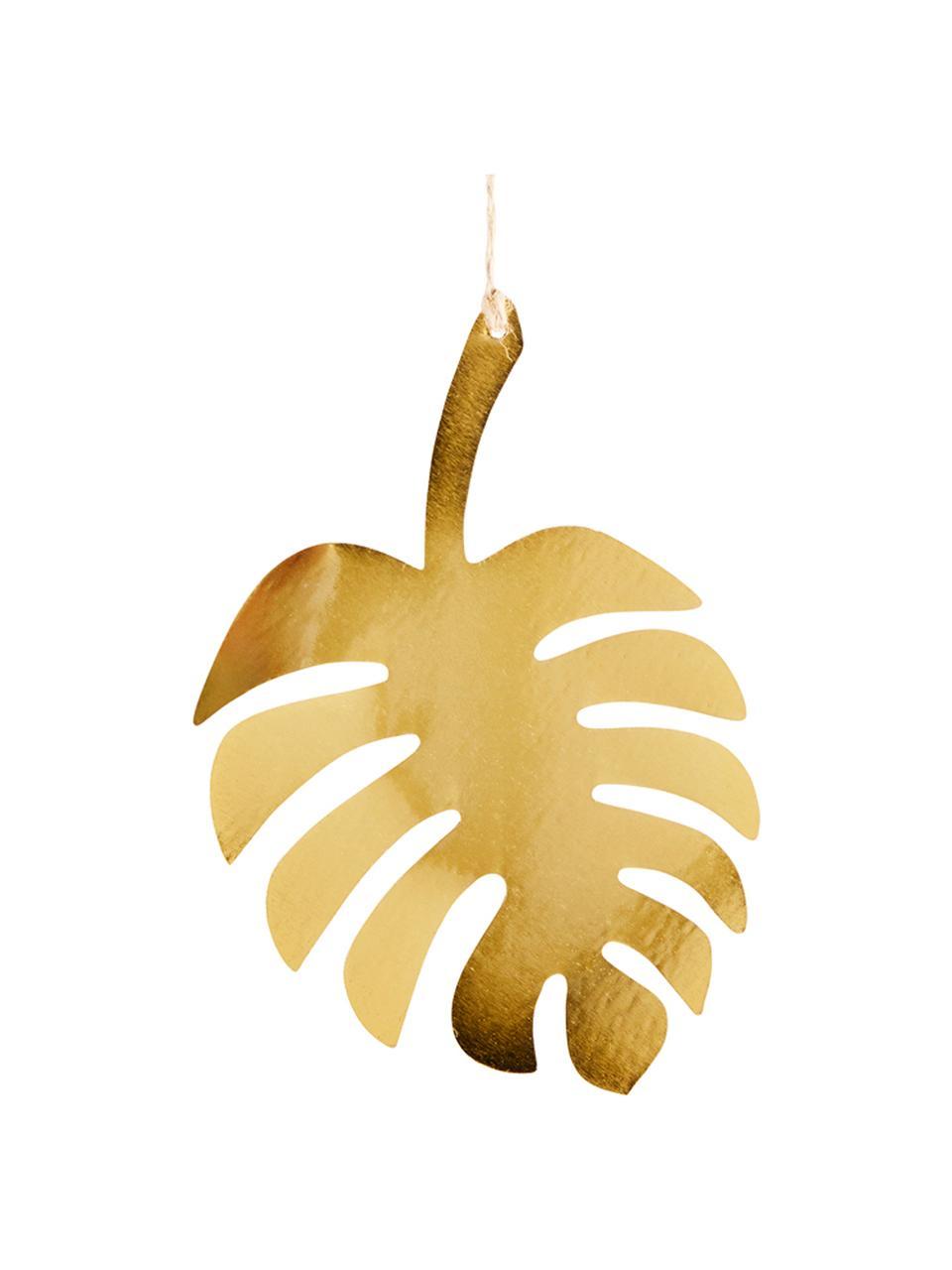 Wandobjekt Leaf aus beschichtetem Metall, Metall, beschichtet, Jute, Messingfarben, 12 x 18 cm