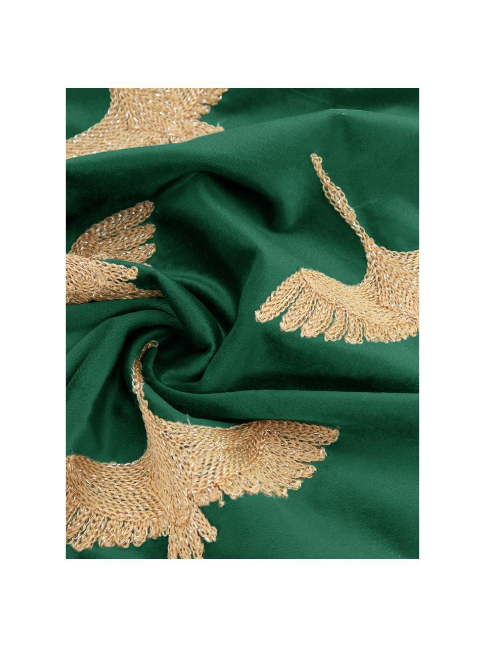 Coussin 45x45 velours turquoise doré Crane, Vert, couleur dorée