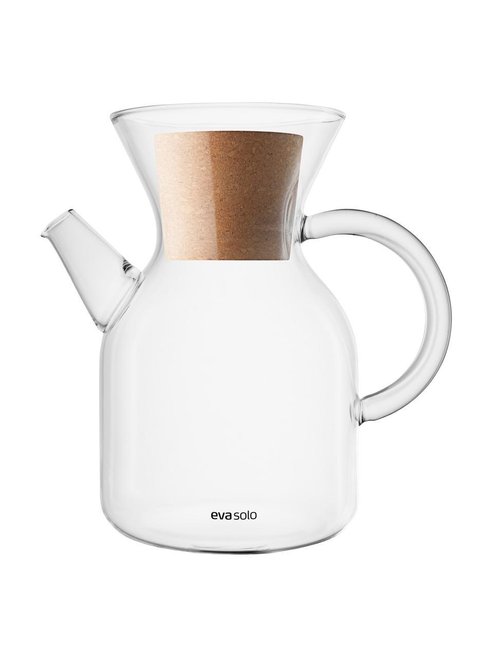 Kaffeebereiter Vetro aus Glas mit Filter und Deckel, Deckel: Kork, Transparent, Edelstahl, 1 L