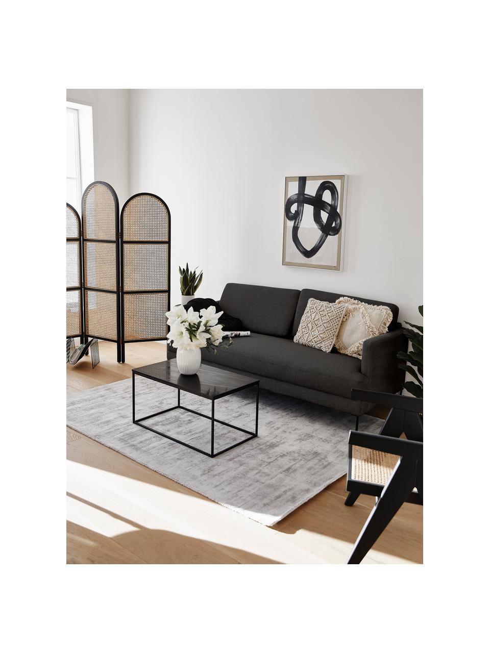 Sofa Fluente (3-Sitzer) in Dunkelgrau mit Metall-Füßen, Bezug: 100% Polyester Der hochwe, Gestell: Massives Kiefernholz, Füße: Metall, pulverbeschichtet, Webstoff Dunkelgrau, B 196 x T 85 cm