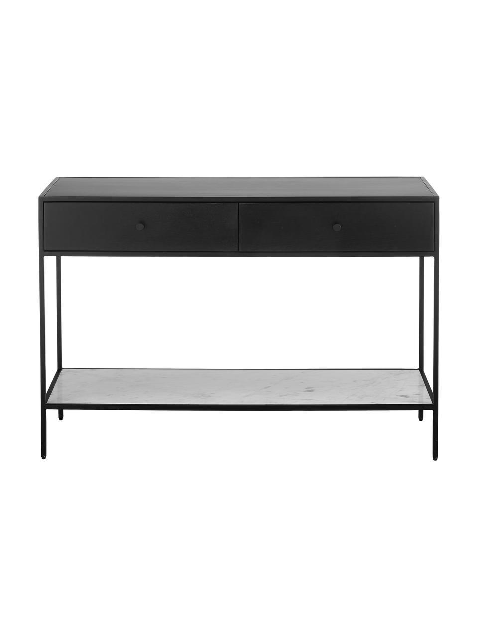 Console avec tablette en marbre Lenny, Noir, marbre blanc-gris
