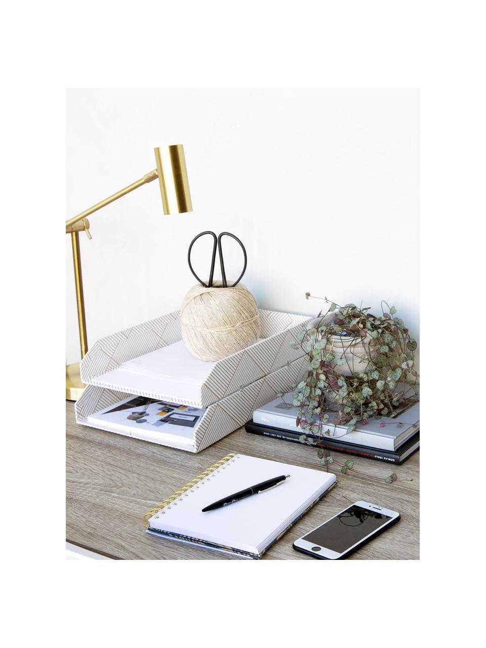 Dokumenten-Ablagen Hakan, 2 Stück, Fester, laminierter Karton, Goldfarben, Weiß, B 23 x T 31 cm