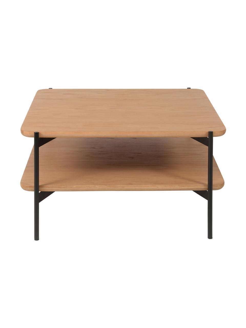 Tavolino da salotto in legno e metallo Easy, Gambe: metallo rivestito, Nero, marrone, Larg. 74 x Alt. 37 cm