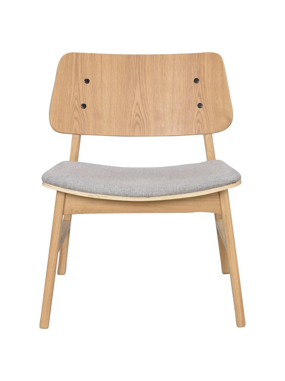 Fotel wypoczynkowy z drewna dębowego Nagano, Tapicerka: 100% poliester, Jasny brązowy, jasny szary, S 57 x G 50 cm
